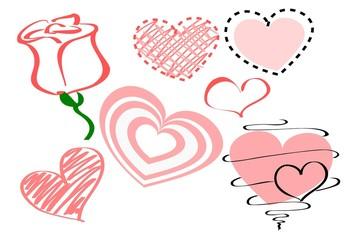 Сердечки и роза к Дню Святого Валентина