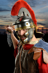 Roman Soldier With Calvary in Background