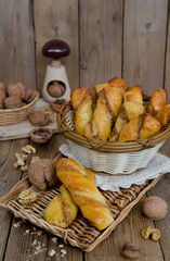 Homemade pastries with cheese and walnut stuffing