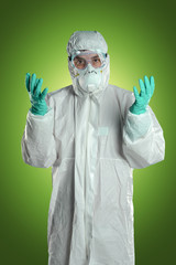 Scientist in Hazmat Suit