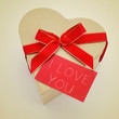 heart-shaped gift box and signboard with the text I love you, wi