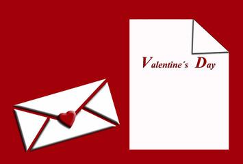 San Valentín, folio, sobre, fondo blanco, corazón