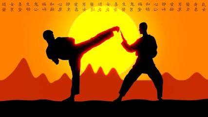 Karate Sunset with Asia Symboles II