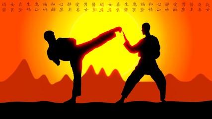 Karate Sunset with Asia Symboles