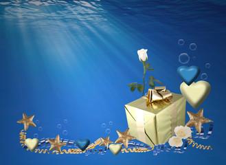 San Valentín, regalo, caja, estrellas, mar, fondo, corazón