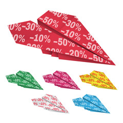 Colored paper airplanes with percent discounts