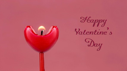 Heart Shaped Red Candle Melting Timelapse with animation text.