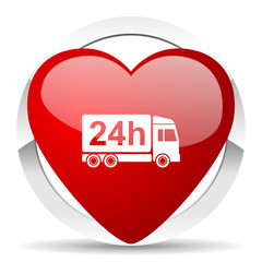 delivery valentine icon 24h shipping sign