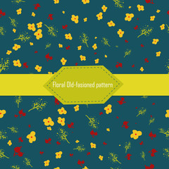 Vector seamless cute floral pattern in old-fashioned style on