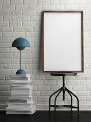 mock up white frame in room, white brick background