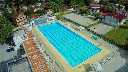 Swimming pool, aerial shot