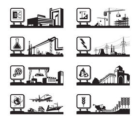 Different industries with logos - vector illustration