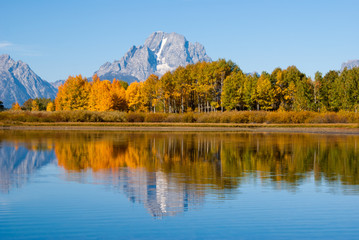 Reflections of Grand Tetons in Fall