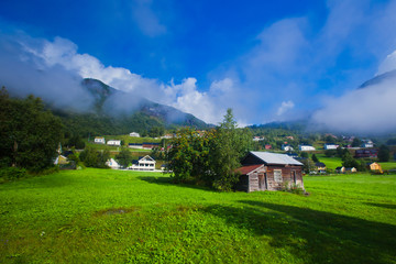 Beautiful vibrant summer norwegian landscape, Norway