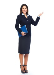 Young business woman presenting copy space.