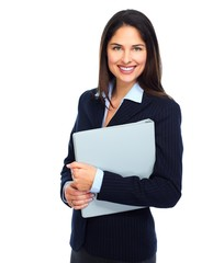 Young business woman with folder.