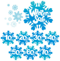 Winter sale discount snowflake shapes.