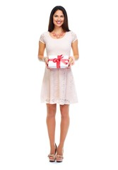 Shopping woman with a gift