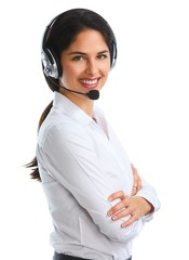 Woman with headsets isolated white background