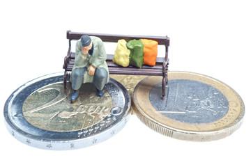 Euro poverty isolated on white background