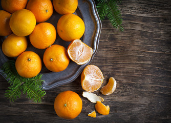 Tangerines on vintage plate