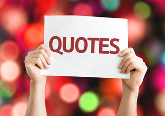 Quotes card with colorful background with defocused lights
