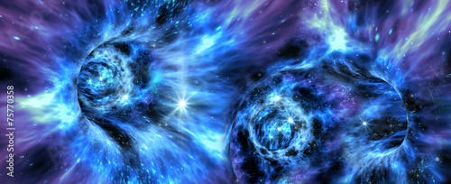 Deep space background with exotic wormhole system - 75770358