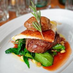 Tenderloin steak with beef terrine and spinach