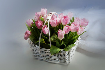 Pink tulips in the basket with wedding rings on white background