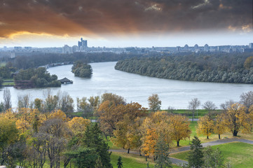 Panoramic view of Belgrade from Kalemegdan fortress