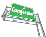Congestion Word Freeway Highway Road Sign Crowded Traffic Gridlo poster