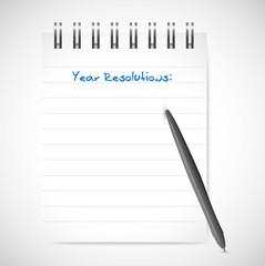 year resolution notepad list illustration