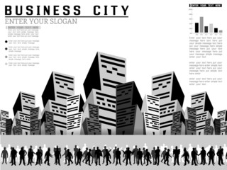 INFOGRAPHIC BUSINESSMAN CITY MODERN