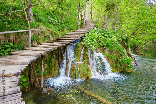 canvas print picture Cascades in Plitvice lakes national park