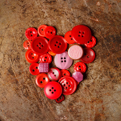 Sewing buttons heart