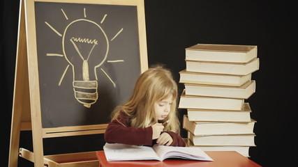 Little girl school idea acting