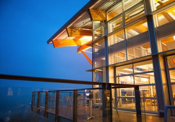a modern building at night, Quest Univbersity, Squamish, near Va