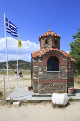 Chapel on the beach in Ouranoupoli
