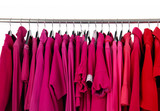female colorful clothing hanging a on display