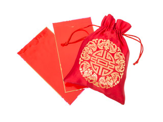 Red silky money bag with glossy red envelopes