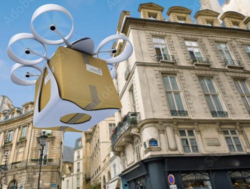 Leinwanddruck Bild Commercial drone flying around Paris