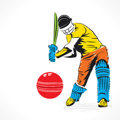 colorful cricket player hit the big ball , sketch design vector