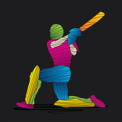 colorful cricket player design by strip vector