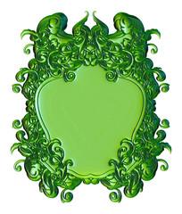 3D luxury label in dark green on white background
