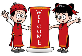 Vector Illustration of Chinese Kids with Welcome sign