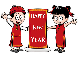 Vector Illustration of Chinese Kids with Happy New Year sign