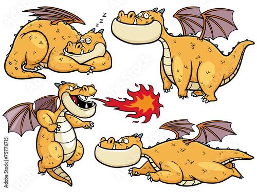 Vector illustration of Cartoon dragon - 75776715