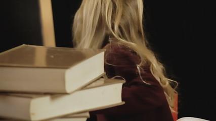 Little girl school study close-up