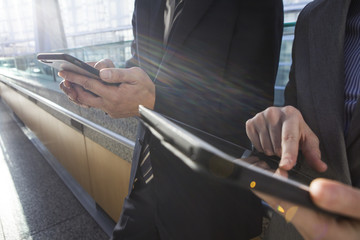 Businessman pointing finger the electronic terminal