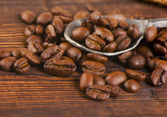 Coffee on a  old wooden background